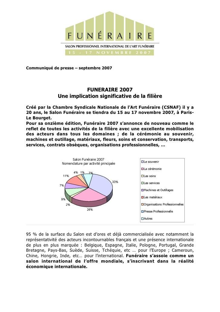 Communiqué de presse – septembre 2007                               FUNERAIRE 2007                Une implication signific...
