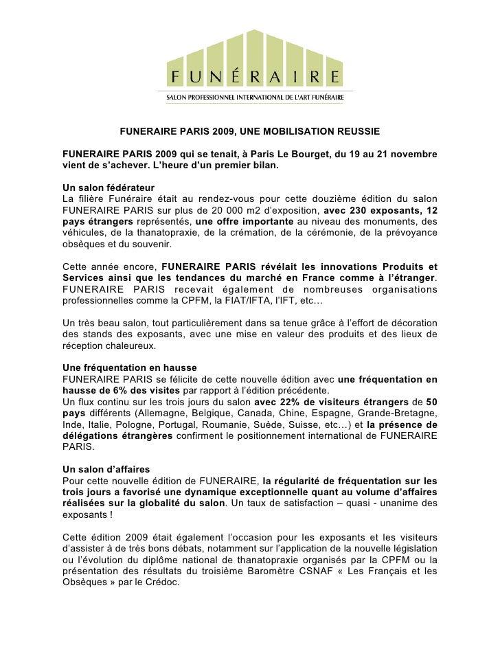 Funéraire Paris 2009, une mobilisation réussie
