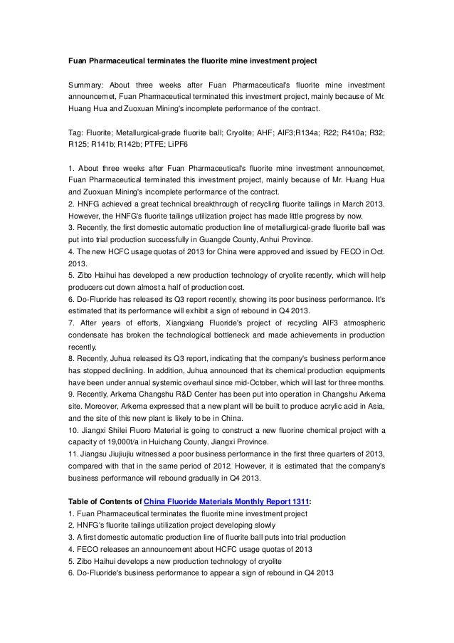 Fuan Pharmaceutical terminates the fluorite mine investment project Summary: About three weeks after Fuan Pharmaceutical's...