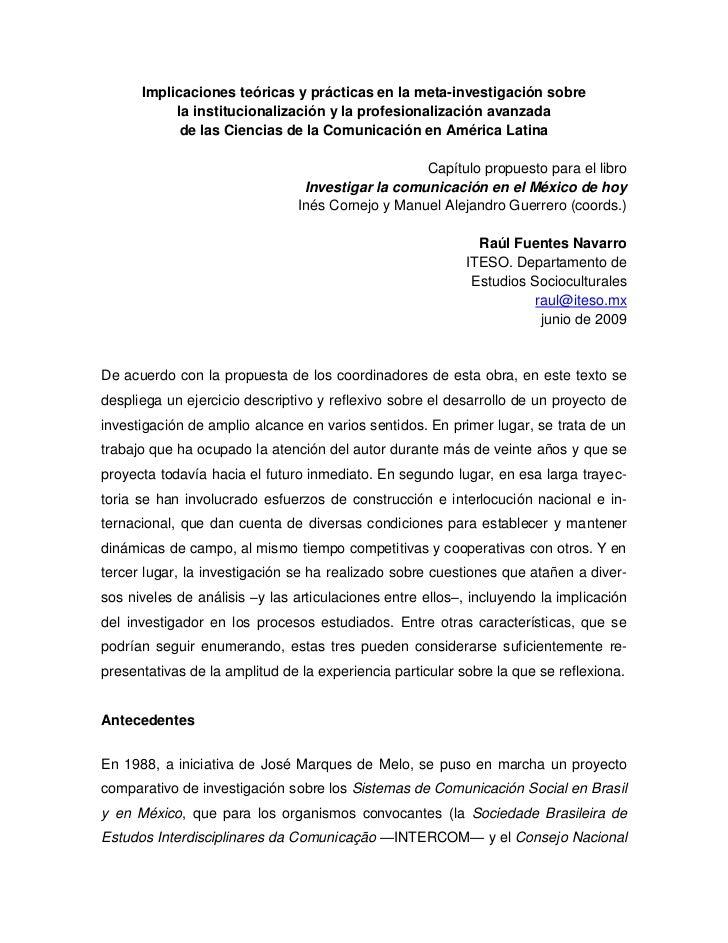 Implicaciones teóricas y prácticas en la meta-investigación sobre           la institucionalización y la profesionalizació...