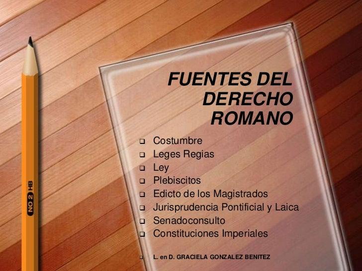 FUENTES DEL          DERECHO           ROMANO   Costumbre   Leges Regias   Ley   Plebiscitos   Edicto de los Magistra...