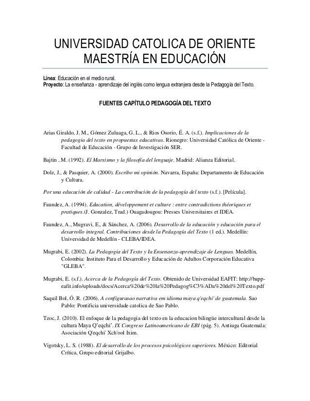 Fuentes pedagogia del texto   proyecto investigacion