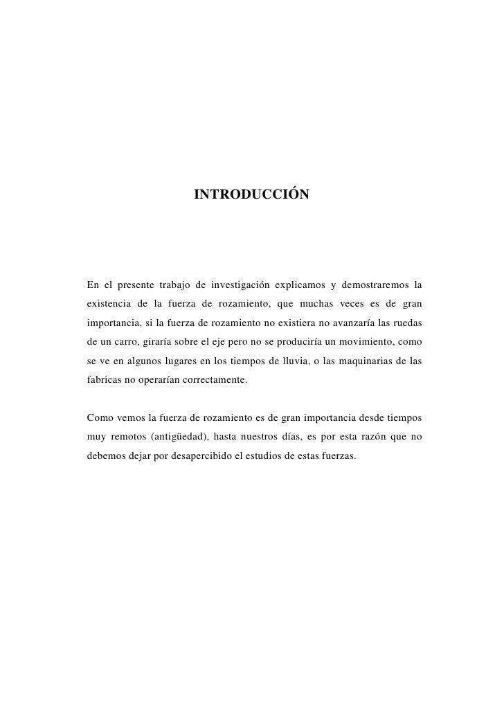 FUERZA DE ROZAMIENTO                                                     FÍSICA I                                INTRODUCC...