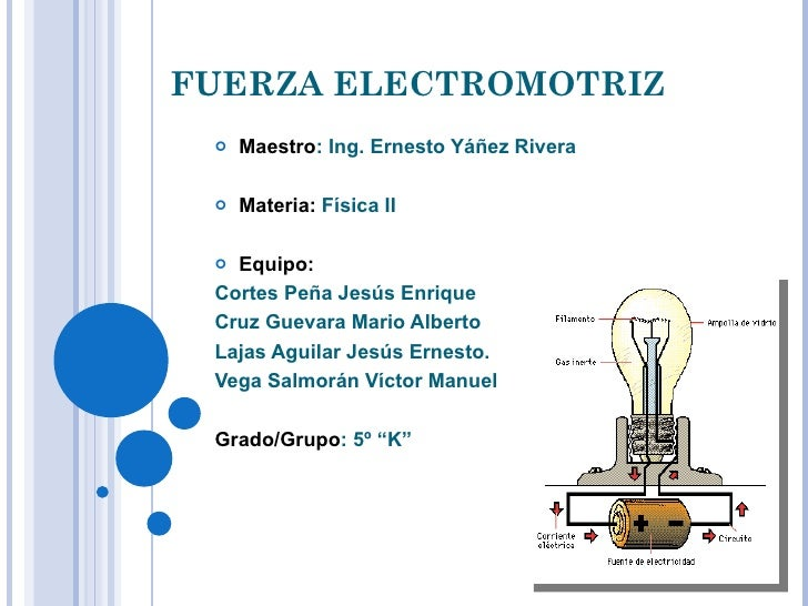 FUERZA ELECTROMOTRIZ <ul><li>Maestro : Ing. Ernesto Yáñez Rivera </li></ul><ul><li>Materia:  Física II </li></ul><ul><li>E...