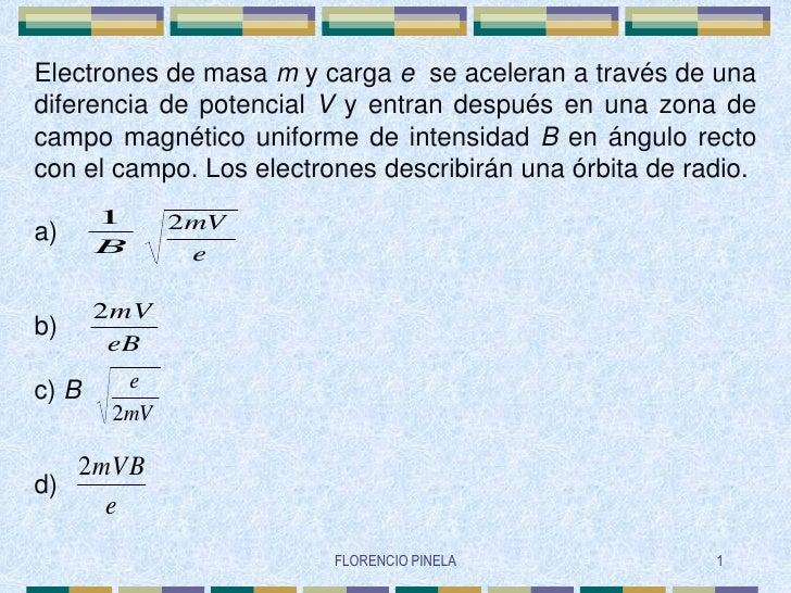 Electrones de masa m y carga e se aceleran a través de una diferencia de potencial V y entran después en una zona de campo...