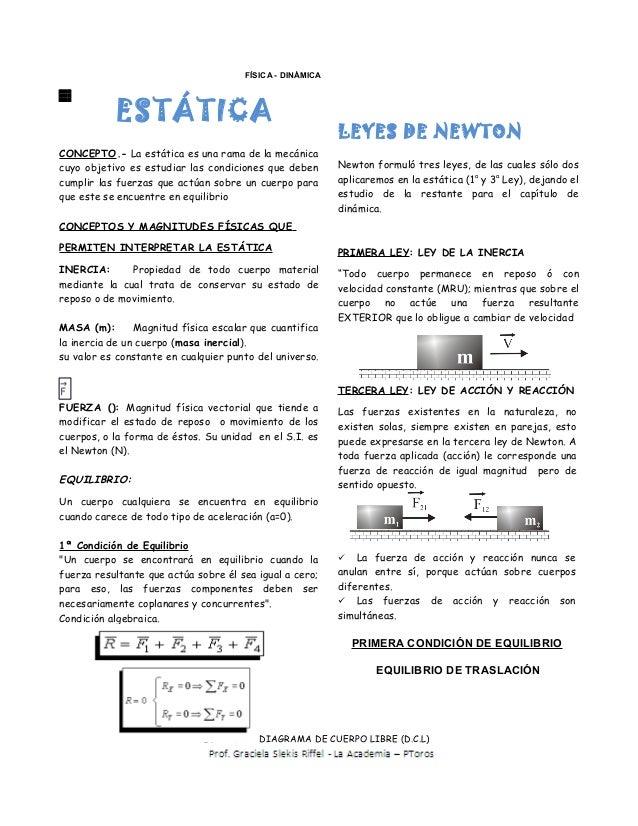 FÍSICA - DINÁMICA           ESTÁTICA                                                          LEYES DE NEWTONCONCEPTO.- La...