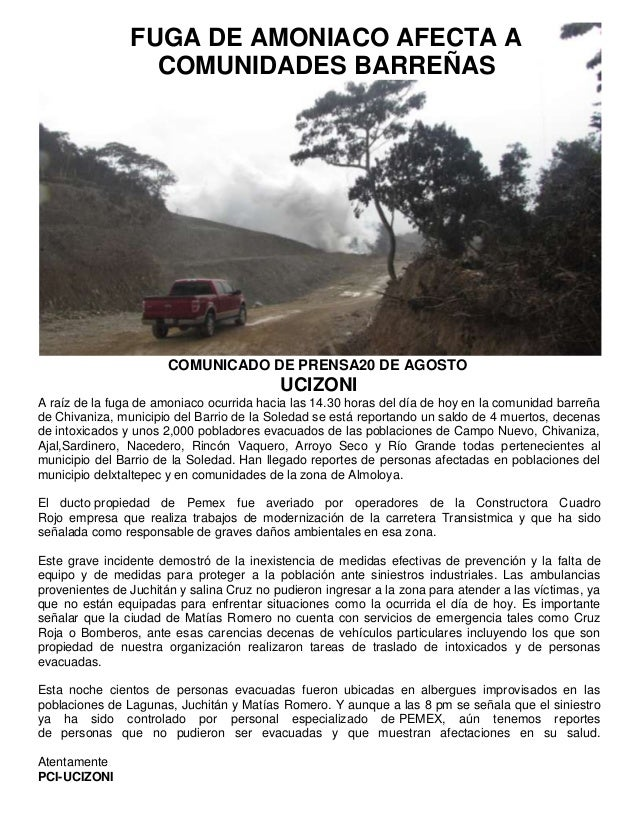 COMUNICADO DE PRENSA20 DE AGOSTO UCIZONI A raíz de la fuga de amoniaco ocurrida hacia las 14.30 horas del día de hoy en la...
