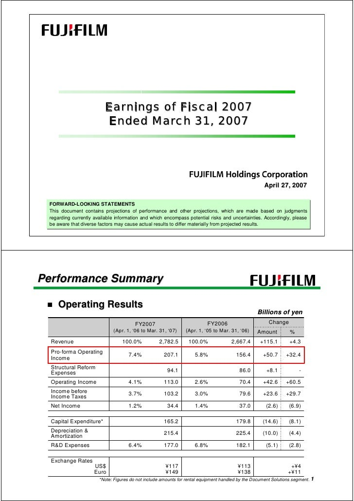Earnings of Fiscal 2007                           Ended March 31, 2007                                                    ...