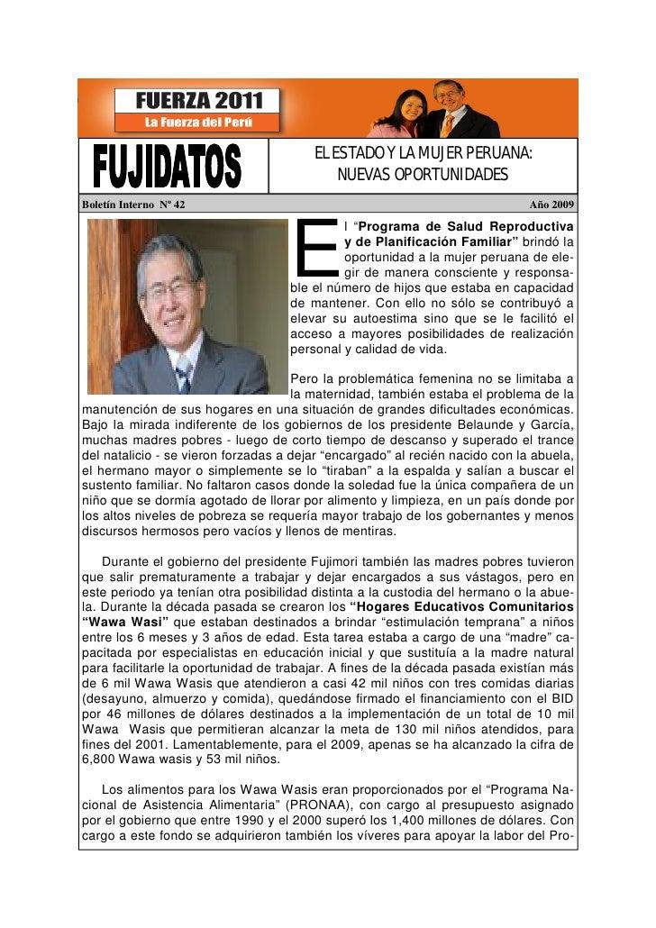 EL ESTADO Y LA MUJER PERUANA:                                             NUEVAS OPORTUNIDADES Boletín Interno Nº 42      ...