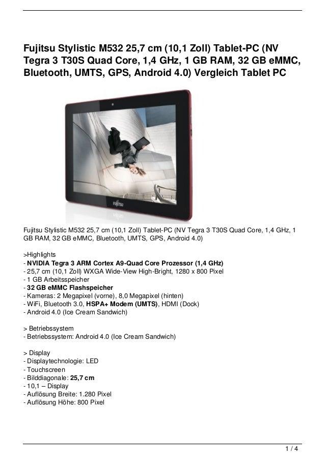 Fujitsu Stylistic M532 25,7 cm (10,1 Zoll) Tablet-PC (NVTegra 3 T30S Quad Core, 1,4 GHz, 1 GB RAM, 32 GB eMMC,Bluetooth, U...