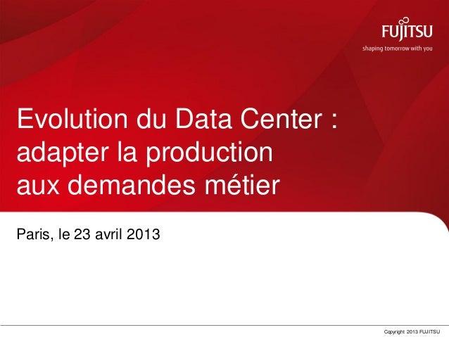 Copyright 2013 FUJITSUEvolution du Data Center :adapter la productionaux demandes métierParis, le 23 avril 2013