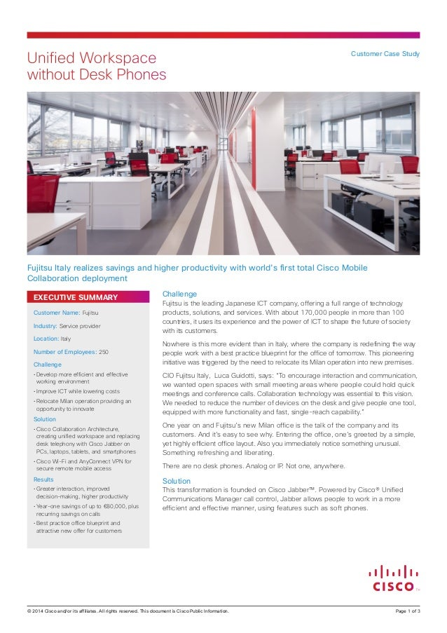 Unified Workspace without Desk Phones  Customer Case Study  Fujitsu Italy realizes savings and higher productivity with wo...