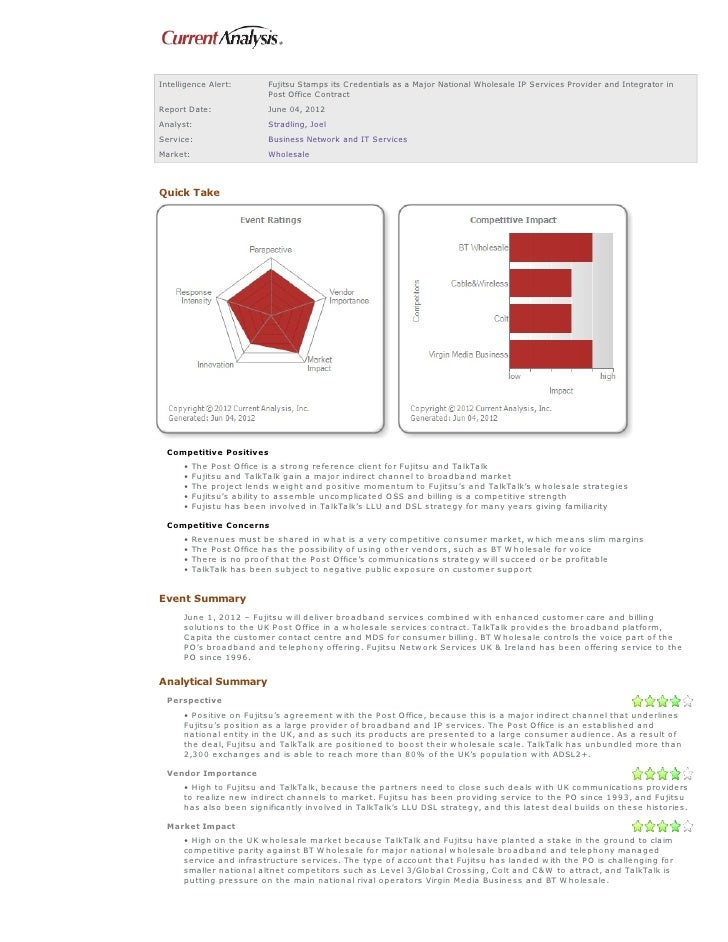 Intelligence Alert:      Fujitsu Stamps its C redentials as a Major National Wholesale IP Services Provider and Integrator...