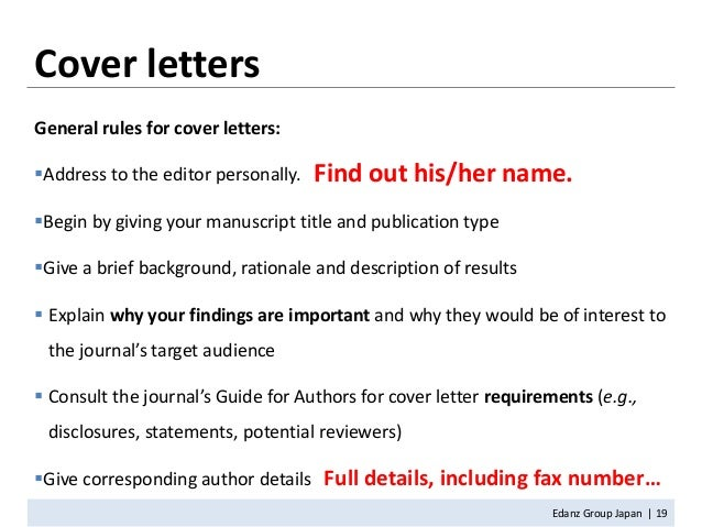 Author Cover Letter Journal