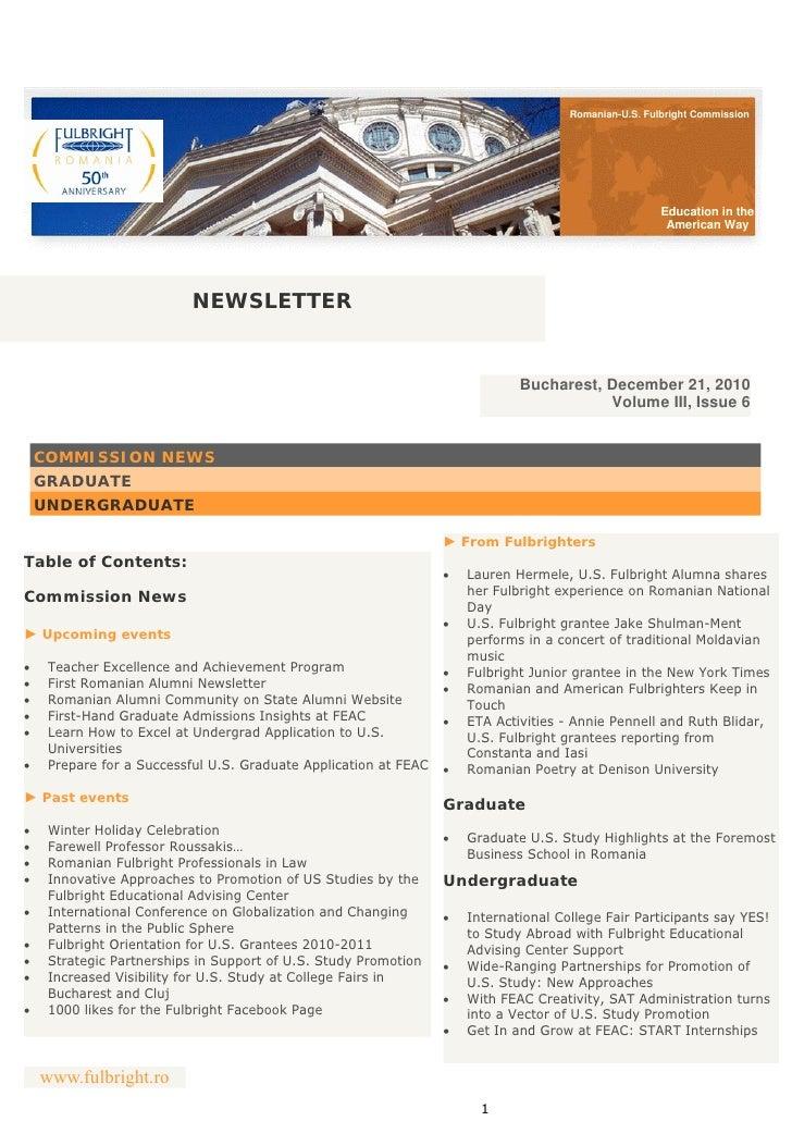 Romanian-U.S. Fulbright Commission Newsletter - December 2010
