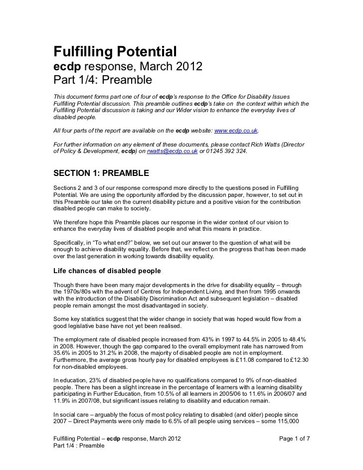Fulfilling Potentialecdp response, March 2012Part 1/4: PreambleThis document forms part one of four of ecdp's response to ...