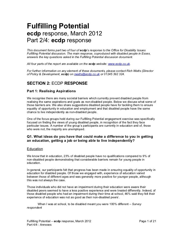 Fulfilling Potentialecdp response, March 2012Part 2/4: ecdp responseThis document forms part two of four of ecdp's respons...
