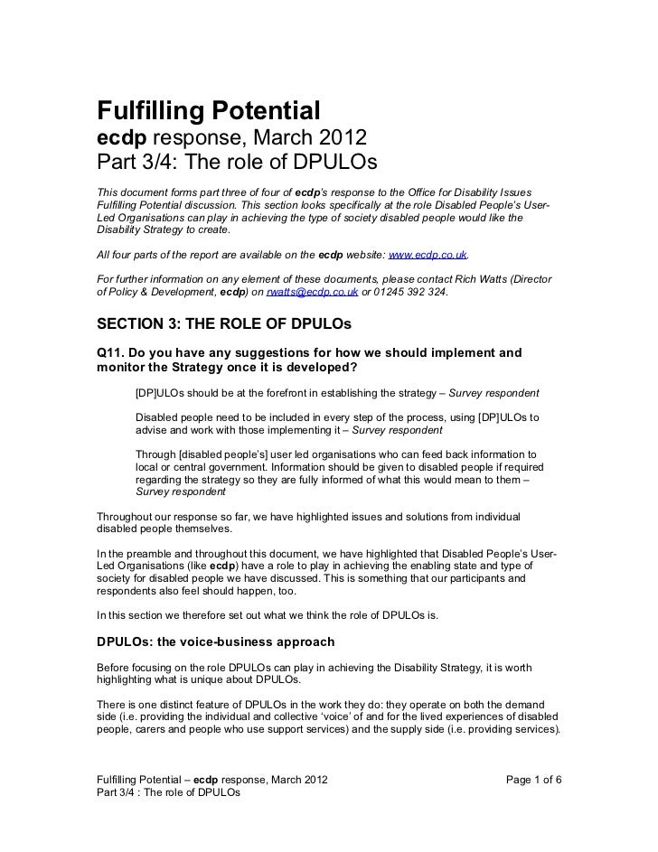 Fulfilling Potentialecdp response, March 2012Part 3/4: The role of DPULOsThis document forms part three of four of ecdp's ...