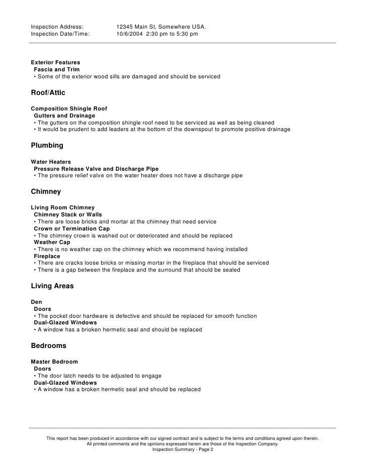 Full House Inspections Sample Report