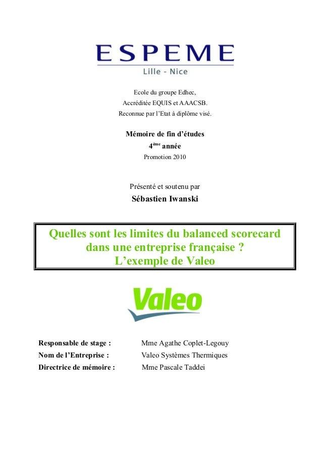 Mémoire S.Iwanski - Quelles sont les limites du balanced scorecard dans une entreprise française?