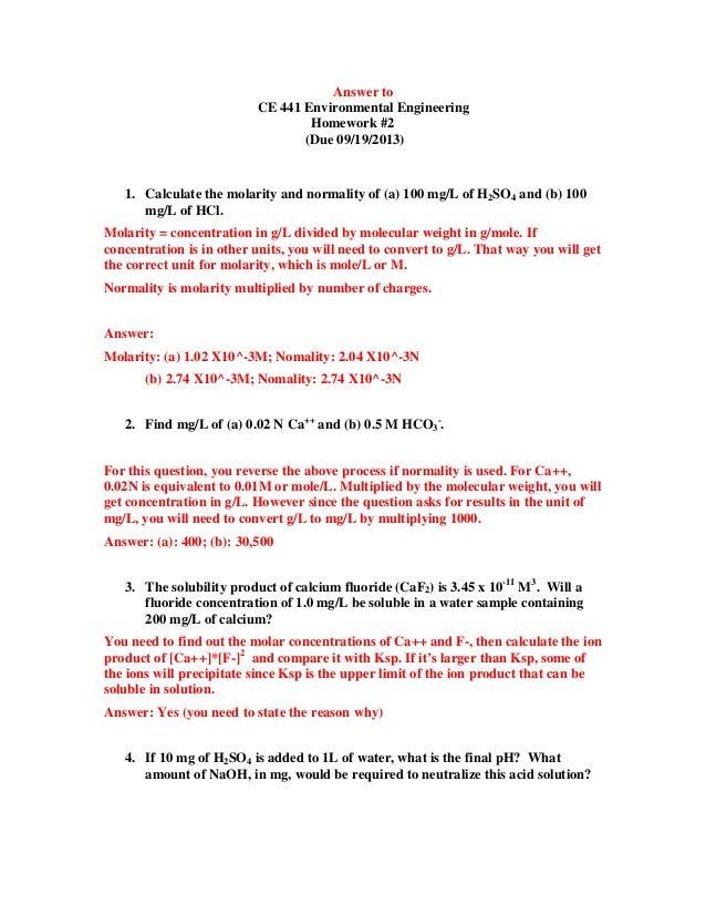 molarity problems worksheet