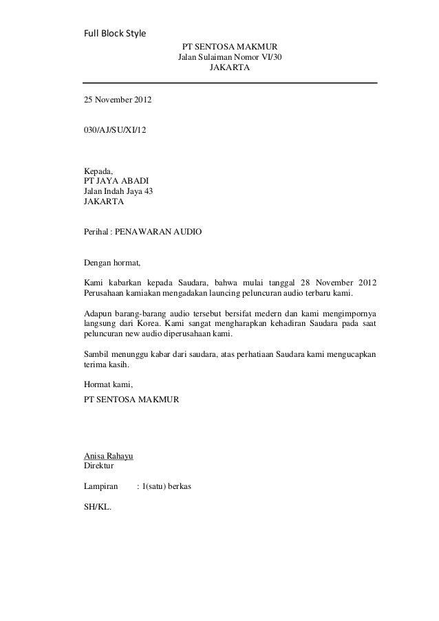Contoh Surat Resmi Dalam Bahasa Inggris Beserta Terjemahan
