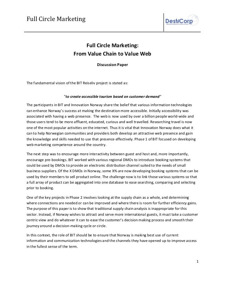 Full Circle Marketing                                 Full Circle Marketing:                             From Value Chain ...