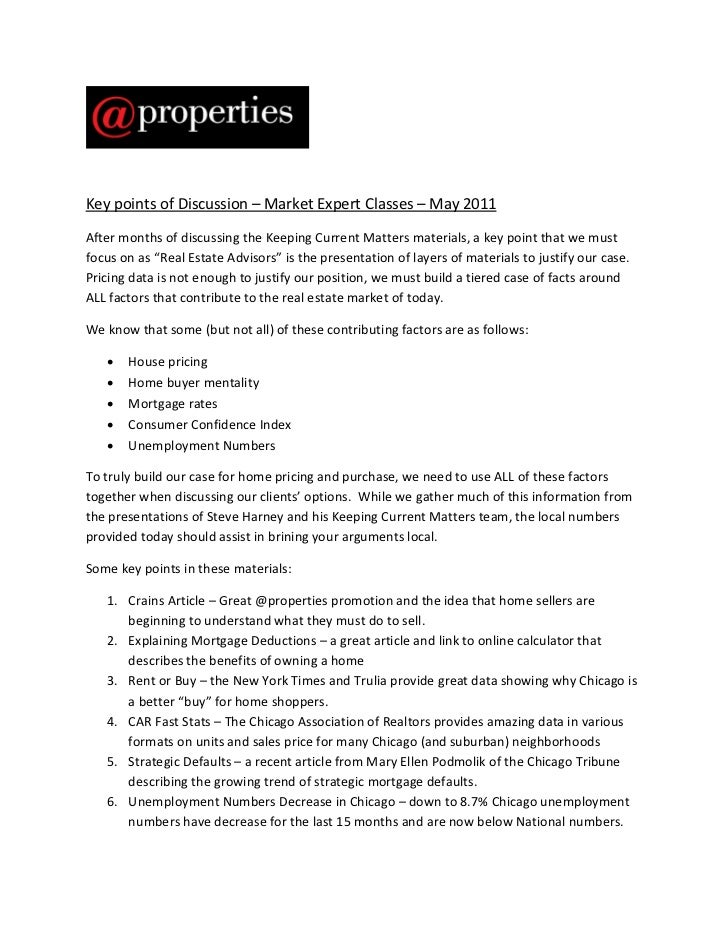 Market Expert Handout - Chicago Real Estate Market - May 2011