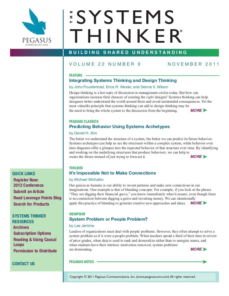 Published Article: Integrating Systems & Design Thinking
