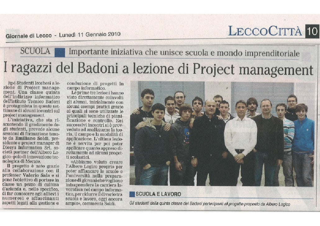Giornaledi Lecco - Formazione Project Management