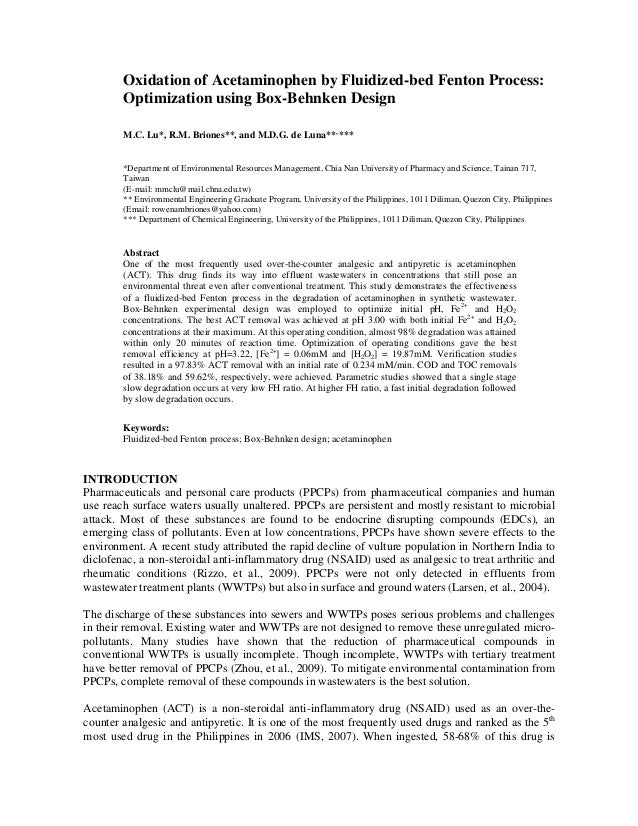 Oxidation of Acetaminophen by Fluidized-bed Fenton Process:        Optimization using Box-Behnken Design        M.C. Lu*, ...