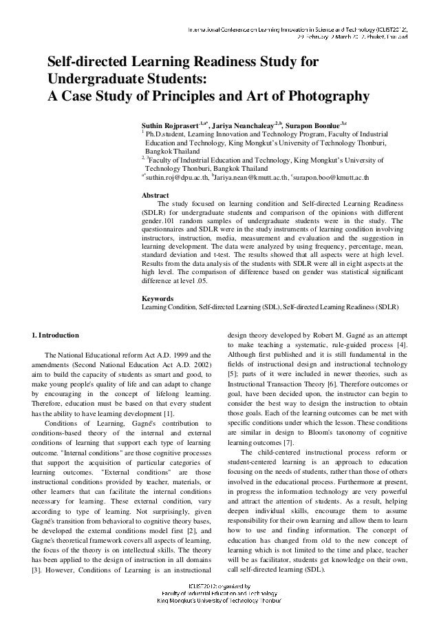 Self-directed Learning Readiness Study for Undergraduate Students: A Case Study of Principles and Art of Photography Suthi...
