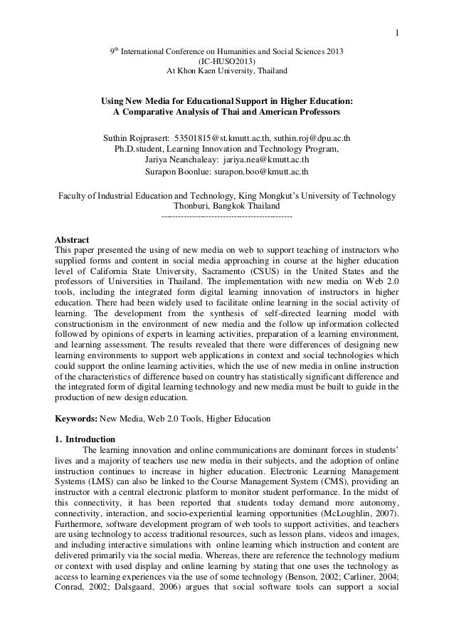 Using New Media for Educational Support in Higher Education: A Comparative Analysis of Thai and American Professors