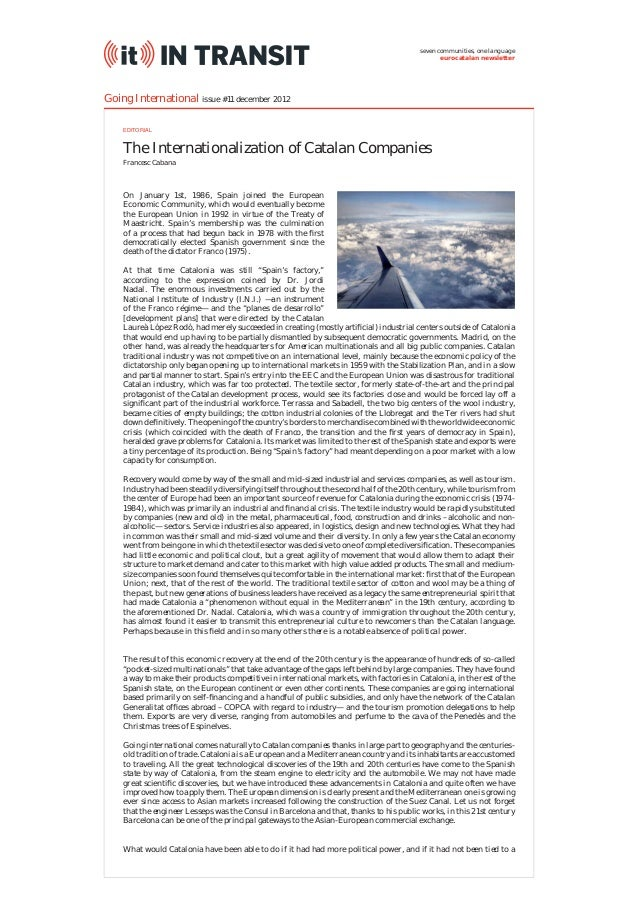 The Internationalization of Catalan Companies (IT InTransit #11)