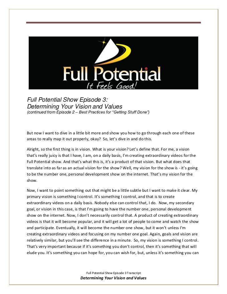 """Full Potential Show Episode 3:Determining Your Vision and Values(continued from Episode 2 – Best Practices for """"Getting St..."""