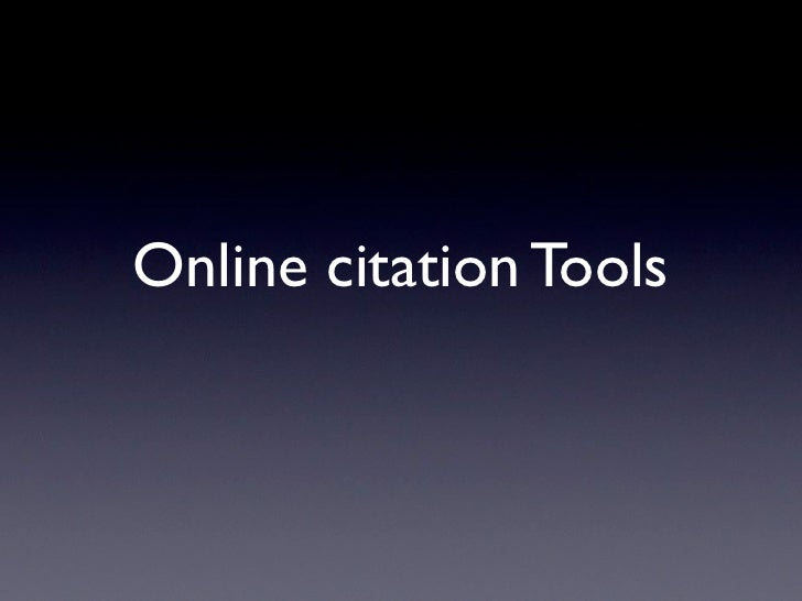 Online citation Tools