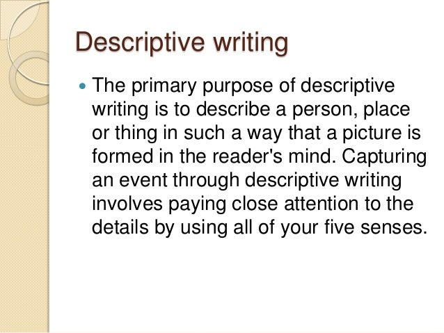 Narrative descriptive essay writing