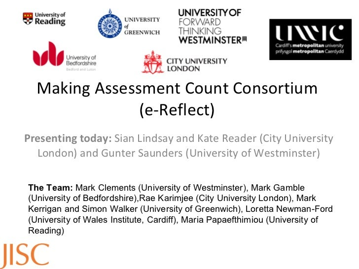 Making Assessment Count Consortium (e-Reflect) Presenting today:  Sian Lindsay and Kate Reader (City University London) an...