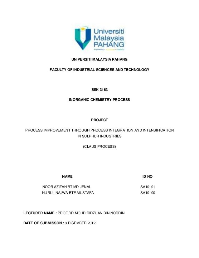UNIVERSITI MALAYSIA PAHANG            FACULTY OF INDUSTRIAL SCIENCES AND TECHNOLOGY                                   BSK ...