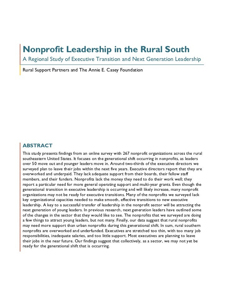 Nonprofit Leadership in the Rural South - Full Report
