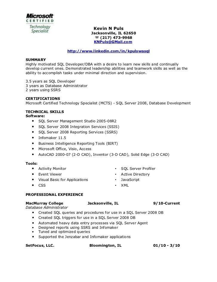 Resume Of Kevin Puls