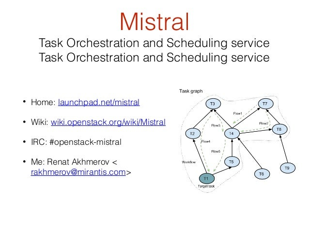 Mistral  Task Orchestration and Scheduling service Task Orchestration and Scheduling service  •  Home: launchpad.net/mistr...