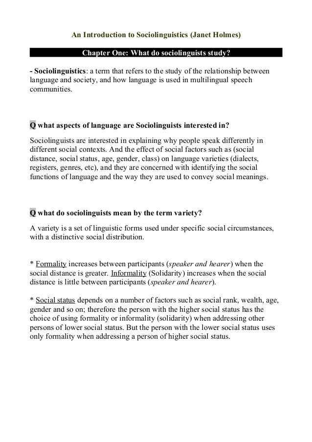 Full summary an_introduction_to_sociolinguistics