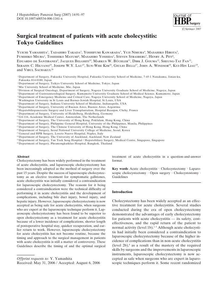 J Hepatobiliary Pancreat Surg (2007) 14:91–97DOI 10.1007/s00534-006-1161-xSurgical treatment of patients with acute cholec...