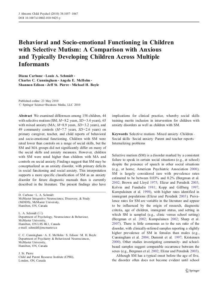J Abnorm Child Psychol (2010) 38:1057–1067DOI 10.1007/s10802-010-9425-yBehavioral and Socio-emotional Functioning in Child...