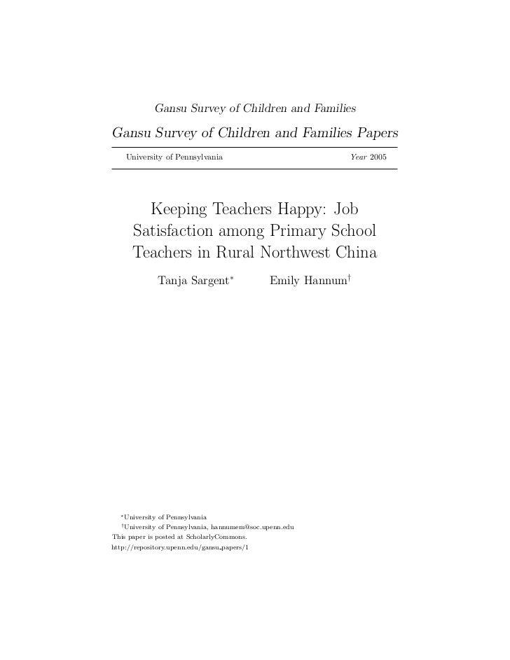 Job Satisfaction of School Teachers