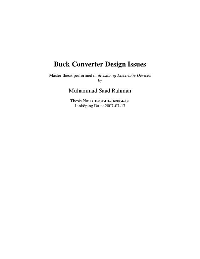 Buck Converter Design IssuesMaster thesis performed in division of Electronic Devices                           by        ...
