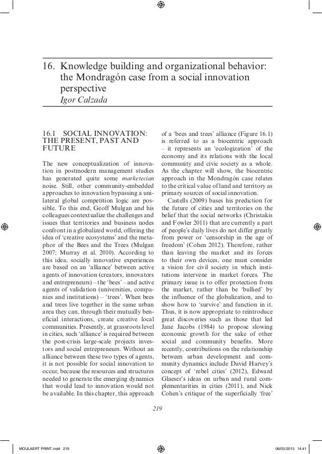16.Knowledge building and organizational behavior:              the Mondragón case from a social innovation              ...