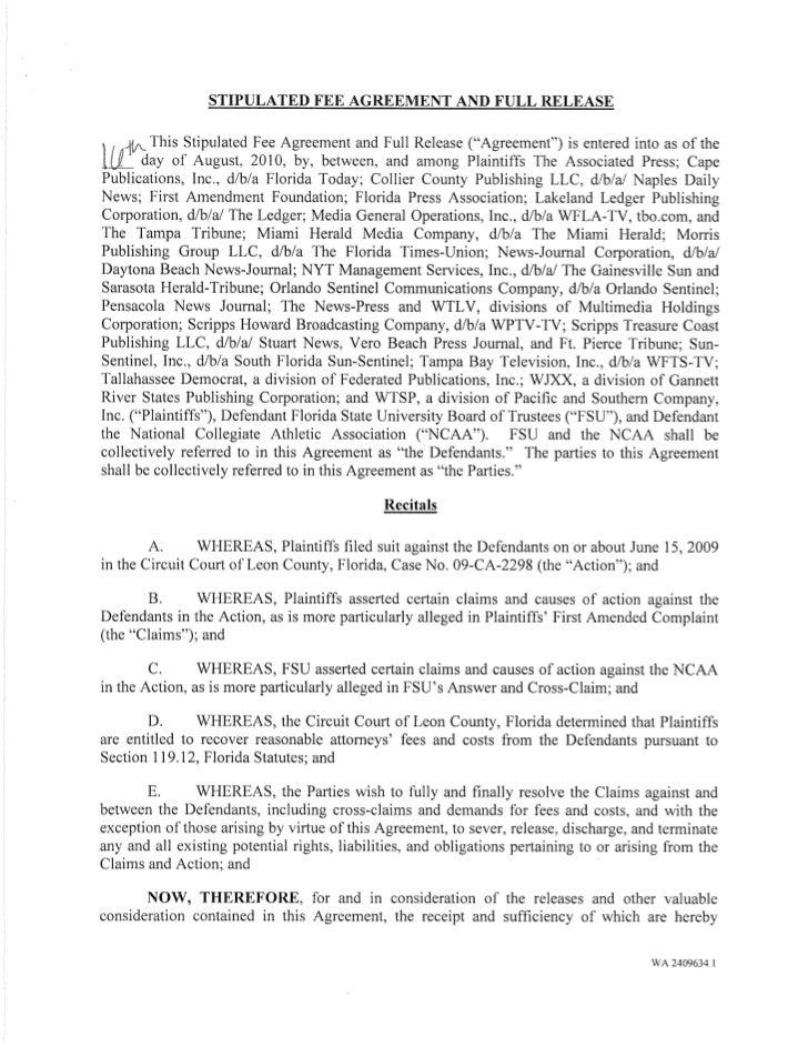 AP v. NCAA Fully Signed Settlement Agreement