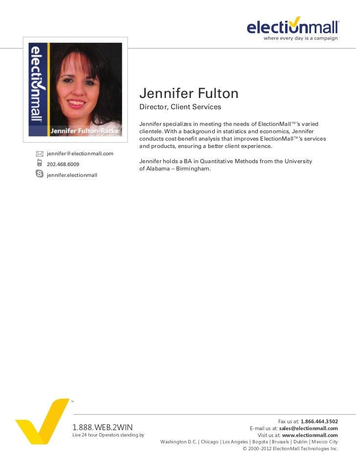Jennifer Fulton                                         Director, Client Services                                         ...